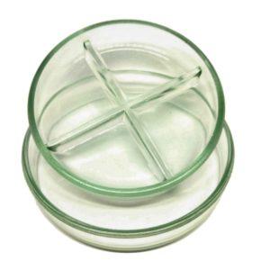capsula de vidro com 4 divisões