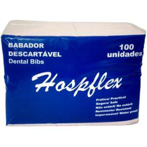 Babador Impermeável Descartável Branco C/100 unid.- Hospflex