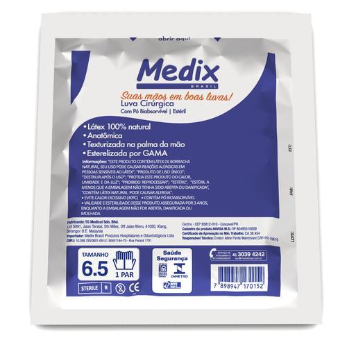 Par de Luvas Cirúrgica Estéril de Látex 7,0 - Medix